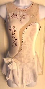 GK ICE FIGURE SKATE ADULT X-SMALL WHITE VELVET SLVLS JA MESH YOKE DRESS Sz AXS