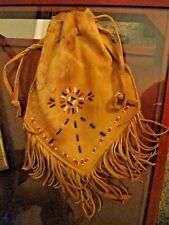 Vtg Native American Leather Beaded Medicine Pouch larger size Lakota