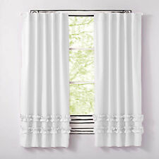 Bottom Layer Ruffle Door & Window Curtains Back Tab/Rod Pocket 2- panel Cotton