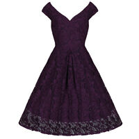 DEEP PURPLE 50s LACE VINTAGE EMBROIDERED ROCKABILLY SWING COCKTAIL PROM DRESS