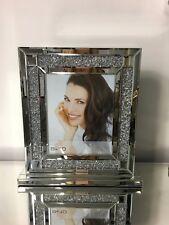 "8"" x 10"" Sparkle Crushed Diamond Glitz Crystal Mirrored Glass Box Photo Frame"