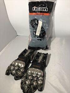 New Icon Gloves Timax Titanium Vintage Gauntlet 4 Bolt Black Size S