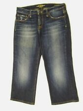 Lucky Brand Women's 6/28 Easy Rider Dark Blue Disressed Capris Jeans NICE (R1)