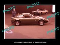 OLD LARGE HISTORIC PHOTO OF 1969 BUICK GS & OPEL GT LAUNCH PRESS PHOTO
