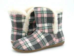 Vionic Womens Cozy Kari Pink Plaid Faux Fur Casual Pull On Ankle Slipper Bootie