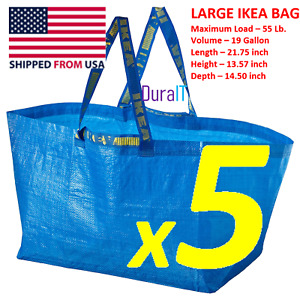 NEW LARGE FIVE IKEA FRAKTA SHOPPING BAG REUSABLE LAUNDRY TOTE GROCERY STORAGE