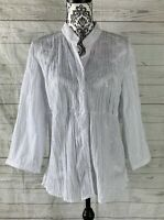ST JOHNS BAY WOMENS SIZE XL WHITE EMBROIDERED CRINKLE BUTTON 3/4 SLEEVE BLOUSE
