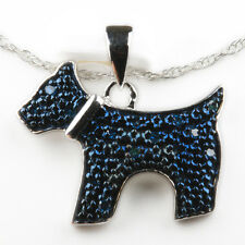 Genuine Blue Diamond Pendant Dog Terrier Fashion Necklace Sterling Silver Chain