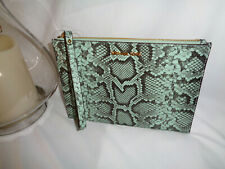 MICHAEL KORS JET SET TRAVEL XL ZIP CLUTCH WRISTLET EMBOSSED LEATHER PALE JADE
