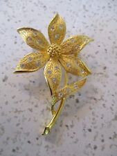 "VINTAGE,DAISY PIN, MARKED J.J. GOLD-TONE, 2 3/4"" X 1.5"" WITH FACETED GLASS BEADS"