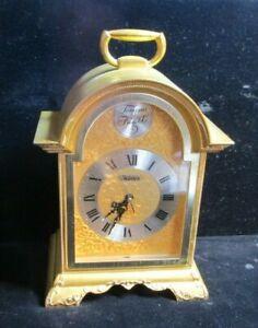 VINTAGE BULOVA TEMPUS FUGIT GOLD TONE DESK MANTEL CLOCK W ALARM WORKING