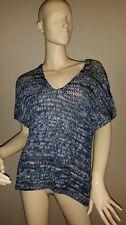 PL. Eileen Fisher blue grey denim v-nk brushtroke cotton tape   top $268 nwt