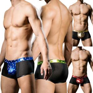 Shiny Mens Underwear Boxers Trunks Bulge Pouch Shorts Mesh Breathable Underpants
