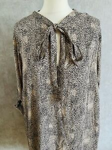 Womens Size 16 Animal Print Smock Dress Bow Toe Neck Gold Button Detail Newlook