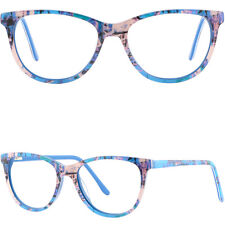 Womens Mens Acetate Frames Spring Hinges Prescription Glasses RX Eyeglasses Blue