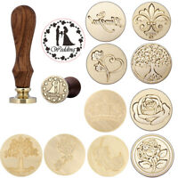 Vintage Wooden Handle Sealing Wax Stamp Pattern Wedding Party Invitation Letter
