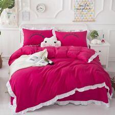 Solid Color Cotton Bedding Set Duvet Quilt Cover+Sheet+Pillow Case Four-Piece