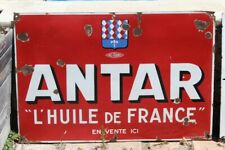 PLAQUE EMAILLEE ANTAR ANNEES 30 GARAGE ATELIER AUTOMOBILE HUILE