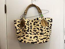 NWOT White, Gold, Black and Yellow Leopard Print Oversized Handbag HUGE!!!!