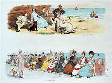SCÈNES HUMORISTIQUES- VACANCIERS ANGLAIS au 19e (M. Hulo)- Grande gravure du 19e