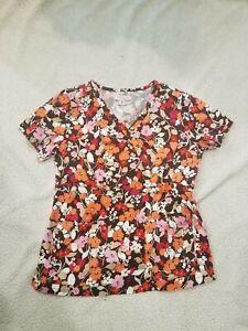 Koi by Kathy Peterson Nurses Uniform Scrub Top Size M