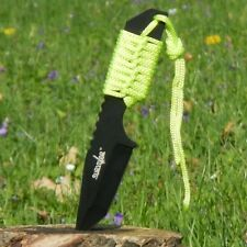 """7"""" Overall Fix Blade Neck/Boot Knife Green Cord Wrap w/ Fire Starter and Sheath"""