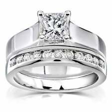 14k White Gold 2.2 Ct Princess Diamond Engagement & Wedding Ring Set Channel Set