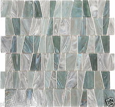 Nickel Teal Textured Stained Glass Kitchen Bath Wall Mosaic Tile- 14 Pack