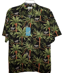 Roundtree Yorke Hawaiian Shirt Big 3X Black Floral Jungle Silk NWT (HAW181)