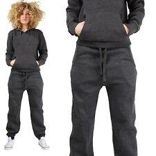 Womens Plain TRACKSUIT Pull Over Hooded top Full Length Ladies Bottom plus sizes