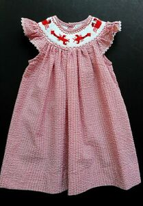 Girls Carriage Boutique Smocked Lobster Gingham Beach Portrait Bishop Dress 9 mo