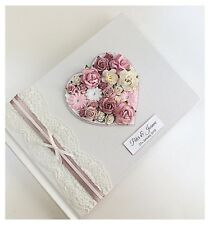 Floral Heart Guest Book Blush Dusky Pink Personalised LUXURY Vintage Lace