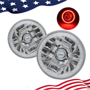 """5-3/4""""Inch Round LED Red Halo Style Halogen Crystal Clear Headlights Angel Eye"""
