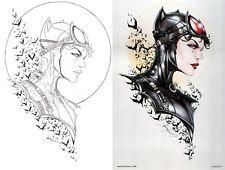 Jamie Tyndall Signed Batman Original Art Sketch & Metal Print Set ~ Catwoman