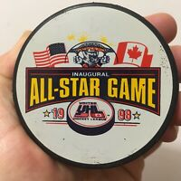 Vintage 1998 United Hockey League All-Star Game 2-Sided Ice Hockey Logo Puck UHL
