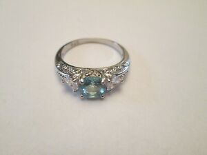 Estate Find Sterling Silver Rings Aquamarine Ring  7 stamped 925