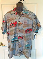 Ford Mustang Classic Muscle Car Carey Hawaiian Camp Shirt Medium Gray NWT