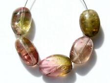 Natural Watermelon Tourmaline Smooth Polish Oval Nugget Gemstone Beads 10025