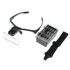 Head Band Magnifier Glass Visor 2-LED Light Magnifying Loupe with 5 Lens