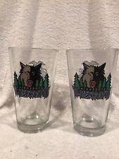 Sweet Set of 2 Minnesota Timberwolves Old Logo Miller Beer Pint Glasses #1, Nice