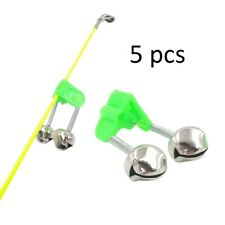 Fishing Alarm Metal Bell Ring 5 pcs Fish Catch Sound Indicator Clamp On Rod Clip