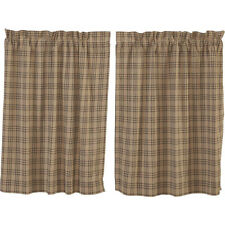 "Sawyer Mill Charcoal Plaid Tier Set by VHC Brands - Lined - 36"" x 36"""