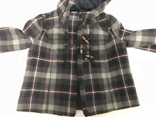 ABERCROMBIE & FITCH WOMENS PLAID COAT WOOL JACKET WITH HOOD SIZE SMALL