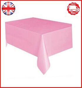 Unique Party Plastic Baby Pink Tablecloth, 9ft x 4.5ft