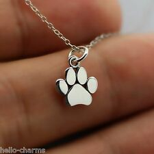 PAW PRINT NECKLACE - 925 Sterling Silver - Paw Print Charm Dog Pet Cat Animal