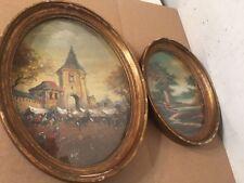 2 Vintage Oil Paintings Open Market Scene Landscape Russian European Middle East