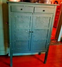 New listing Antique Pie Safe Primitive Punched Tins 2 Drawers Sw Ohio