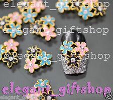 #EA118 10pcs 3D Alloy Jewelry 3 Color Flower Nail Art Deco Glitter Rhinestones