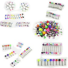 110PCS Lot Body Jewelry Eyebrow Navel Belly Lip Tongue Nose Piercing Bar Ring