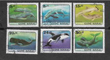 GUINEA BISSAU POSTAL ISSUE - SET OF 6 USED COMMEMORATIVE STAMPS 1984 WHALES